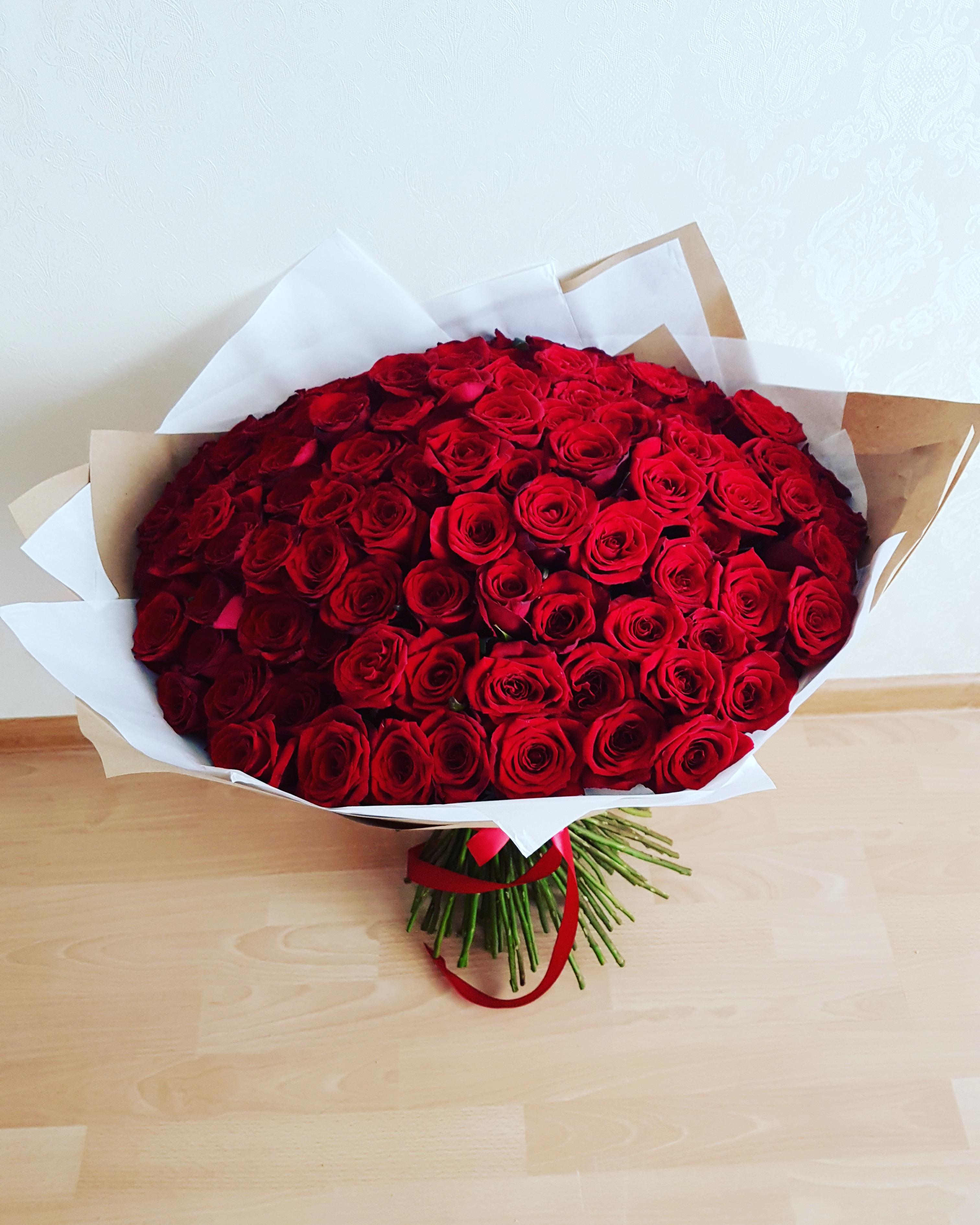 Raudonų rožių puokštė / 101 vnt