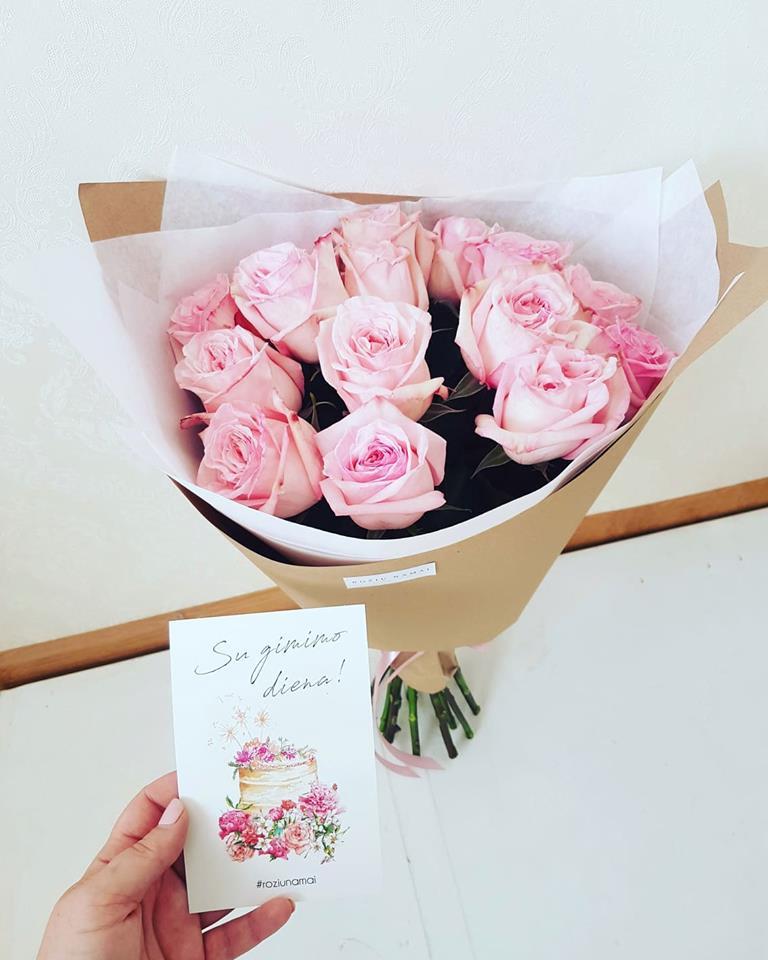 """Bijūninių rožių puokštė """" Pink O Hara """" 15vnt."""