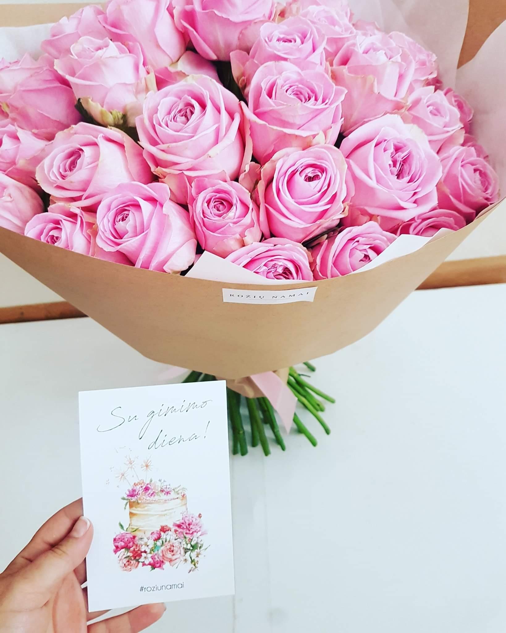 Rožinių rožių puokštė / 45 vnt. paveikslelis