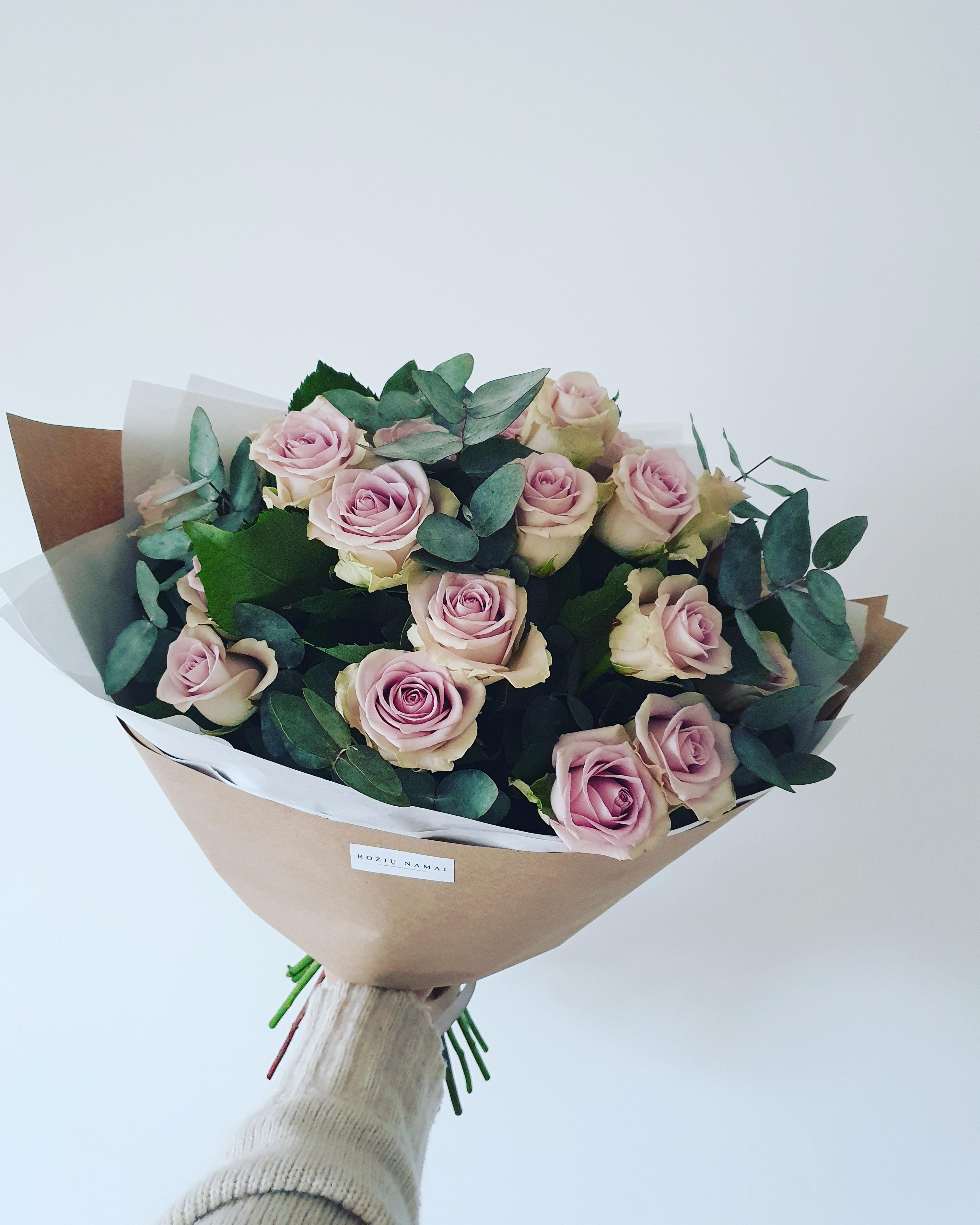 Violetinės rožės ir eukaliptas  25 vnt.