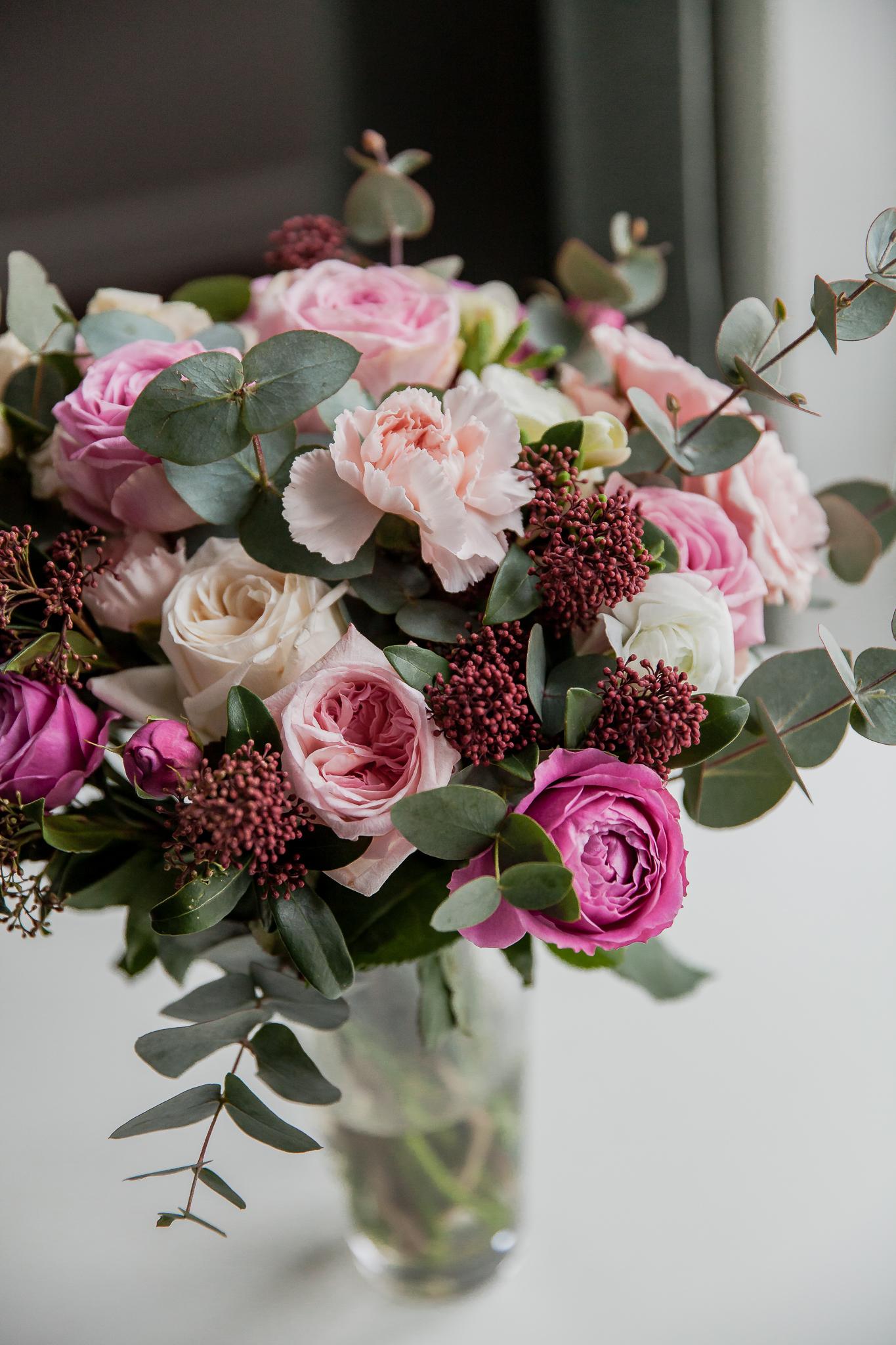 Įvairių gėlių puokštė / rožinė paveikslelis