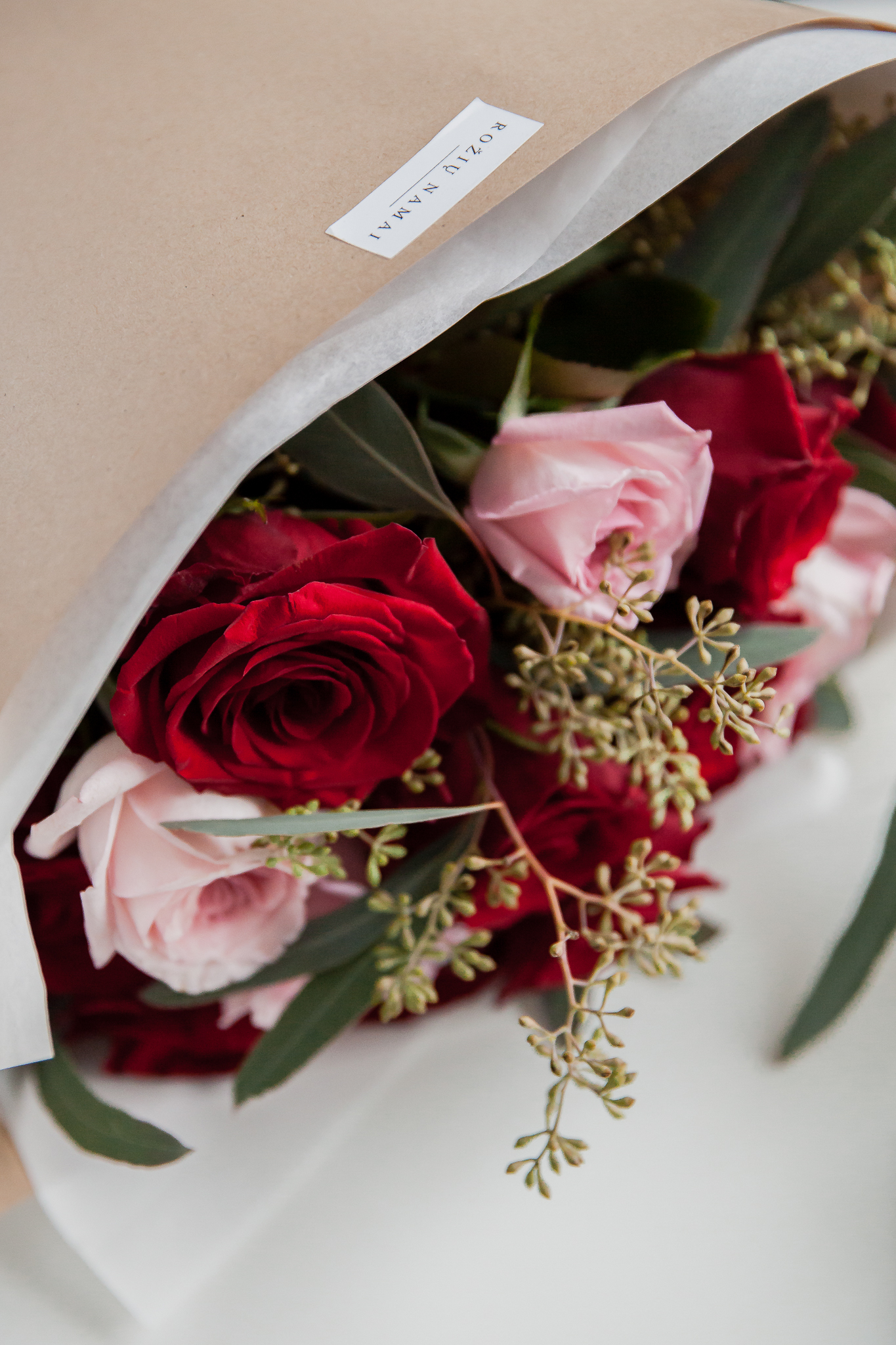 Raudonos ir rožinės rožės 15vnt. paveikslelis